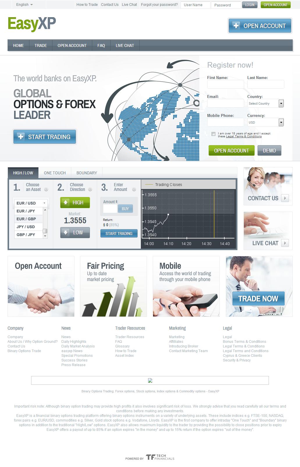 easyXP homepage screenshot