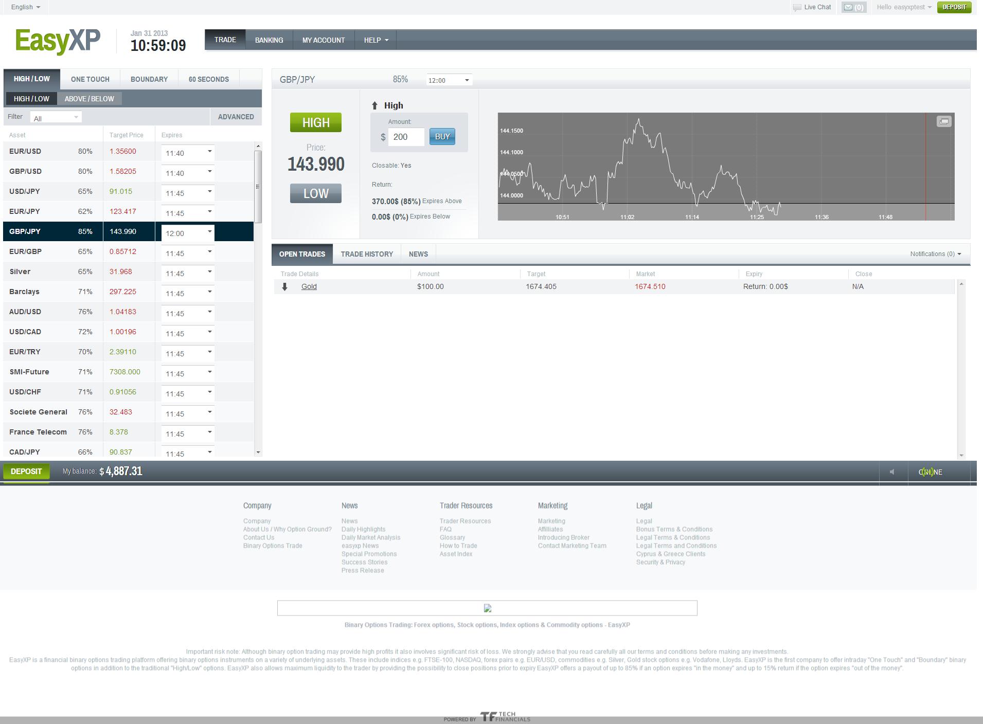 easy xp trading screenshot