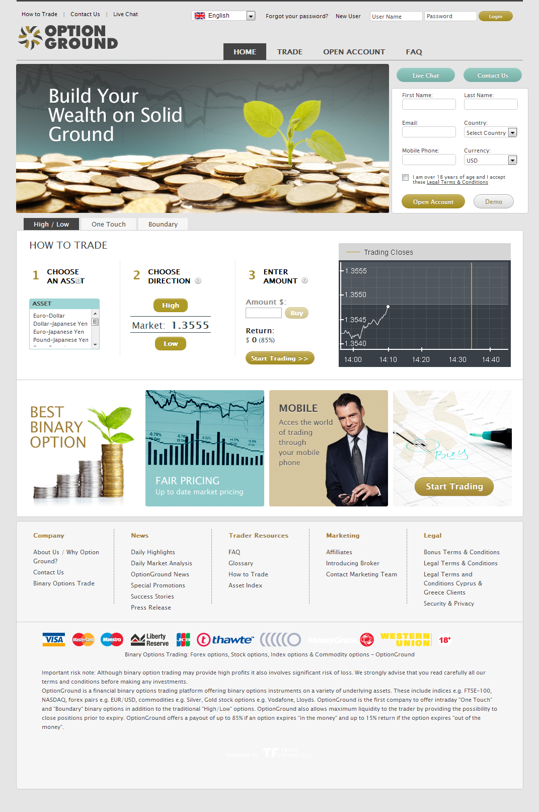 optionground homepage screenshot