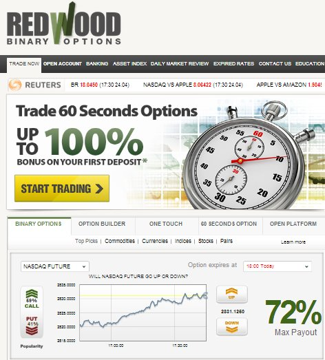 Redwood Options Home Screen