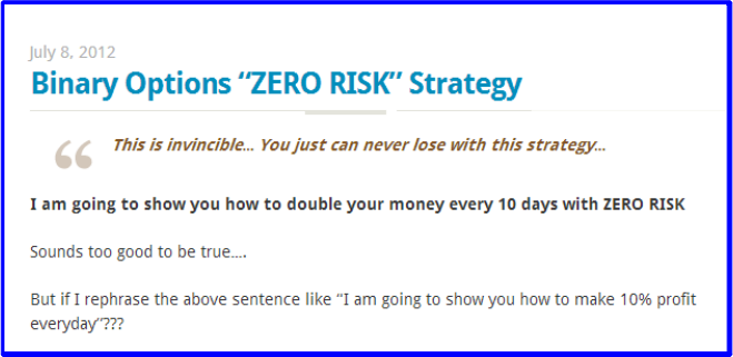Risk of binary options
